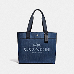 COACH F67415 Tote With Horse And Carriage DENIM/SILVER