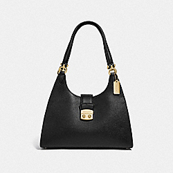 COACH F67452 Avary Shoulder Bag BLACK/LIGHT GOLD