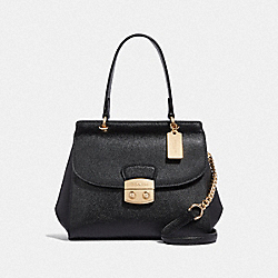 AVARY FLAP CARRYALL - F67453 - BLACK/LIGHT GOLD