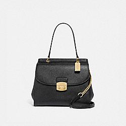 AVARY FLAP CARRYALL - F67454 - BLACK/LIGHT GOLD