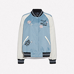 KEITH HARING EMBROIDERED SOUVENIR JACKET - F67470 - DUSTY BLUE