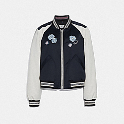 COACH F67471 Floral Embroidered Cropped Baseball Jacket NAVY