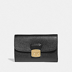 COACH F67491 Avary Medium Envelope Wallet BLACK/LIGHT GOLD