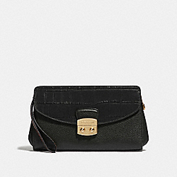 COACH F67497 Flap Clutch BLACK/IMITATION GOLD