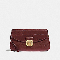 COACH F67497 - FLAP CLUTCH WINE/IMITATION GOLD