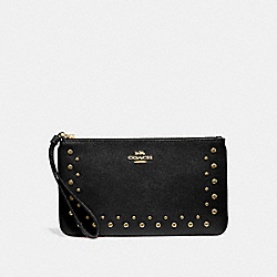 LARGE WRISTLET WITH STUDS - F67501 - BLACK/IMITATION GOLD