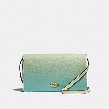COACH F67504 HAYDEN FOLDOVER CROSSBODY CLUTCH WITH OMBRE<br>蔻驰海登边斜背离合器OMBRE 绿色多/仿金