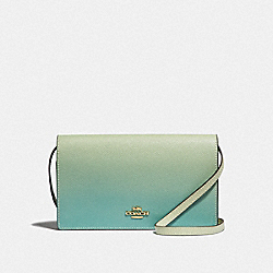 HAYDEN FOLDOVER CROSSBODY CLUTCH WITH OMBRE - F67504 - GREEN MULTI/IMITATION GOLD