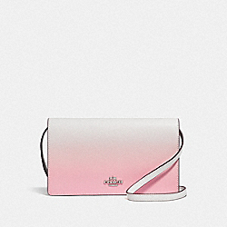HAYDEN FOLDOVER CROSSBODY CLUTCH WITH OMBRE - F67504 - PINK MULTI/SILVER