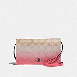 HAYDEN FOLDOVER CROSSBODY CLUTCH IN OMBRE SIGNATURE CANVAS - F67505 - LIGHT KHAKI/PINK MULTI/SILVER