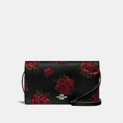 HAYDEN FOLDOVER CROSSBODY CLUTCH WITH JUMBO FLORAL PRINT - F67506 - BLACK MULTI/BLACK/IMITATION GOLD