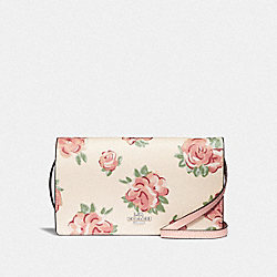 COACH F67506 Hayden Foldover Crossbody Clutch With Jumbo Floral Print CHALK MULTI/PETAL/SILVER