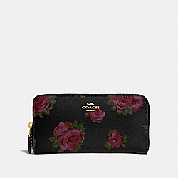 COACH F67509 Accordion Zip Wallet With Jumbo Floral Print BLACK MULTI/BLACK/IMITATION GOLD