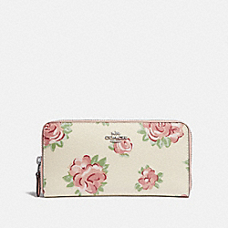 COACH F67509 Accordion Zip Wallet With Jumbo Floral Print CHALK MULTI/PETAL/SILVER