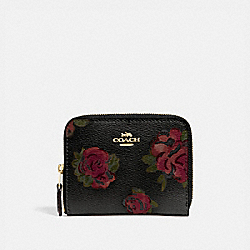 COACH F67511 - SMALL ZIP AROUND WALLET WITH JUMBO FLORAL PRINT BLACK MULTI/BLACK/IMITATION GOLD