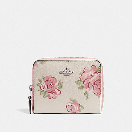 COACH F67511 SMALL ZIP AROUND WALLET WITH JUMBO FLORAL PRINT CHALK MULTI/PETAL/SILVER