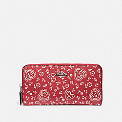 COACH F67515 Accordion Zip Wallet With Lace Heart Print RED MULTI/SILVER
