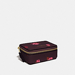 TRIPLE PILL BOX WITH TOSSED PEONY PRINT - F67526 - OXBLOOD 1 MULTI/IMITATION GOLD