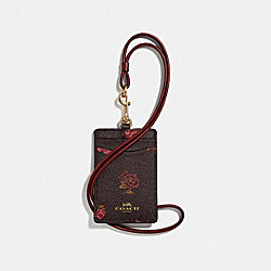 COACH F67527 - ID LANYARD WITH TOSSED PEONY PRINT OXBLOOD 1 MULTI/IMITATION GOLD