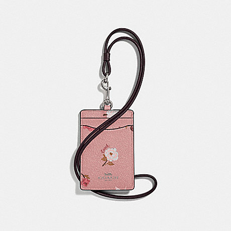 COACH F67527 ID LANYARD WITH TOSSED PEONY PRINT PETAL MULTI/SILVER