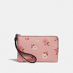 COACH F67528 Corner Zip Wristlet With Tossed Peony Print PETAL MULTI/SILVER