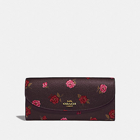 COACH F67529 SLIM ENVELOPE WALLET WITH TOSSED PEONY PRINT OXBLOOD 1 MULTI/IMITATION GOLD