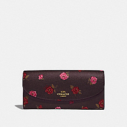 COACH F67529 - SLIM ENVELOPE WALLET WITH TOSSED PEONY PRINT OXBLOOD 1 MULTI/IMITATION GOLD