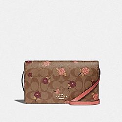 HAYDEN FOLDOVER CROSSBODY CLUTCH IN SIGNATURE CANVAS WITH TOSSED PEONY PRINT - F67533 - KHAKI/PINK MULTI/IMITATION GOLD