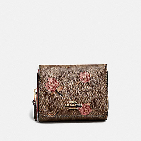 COACH F67537 SMALL TRIFOLD WALLET IN SIGNATURE CANVAS WITH TOSSED PEONY PRINT KHAKI/PINK MULTI/IMITATION GOLD