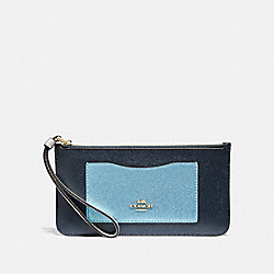 ZIP TOP WALLET IN COLORBLOCK - F67541 - MIDNIGHT MULTI/IMITATION GOLD