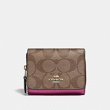 COACH F67544 SMALL TRIFOLD WALLET IN COLORBLOCK SIGNATURE CANVAS KHAKI-MULTI-/IMITATION-GOLD