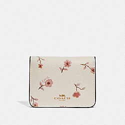 COACH F67547 Bifold Card Case With Vintage Prairie Print CHALK MULTI/IMITATION GOLD