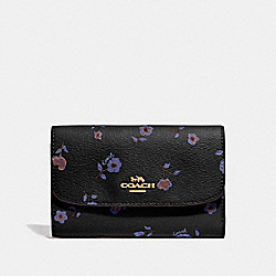 COACH F67548 Medium Envelope Wallet With Vintage Prairie Print BLACK/MULTI/IMITATION GOLD