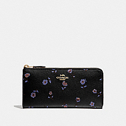COACH F67549 L-zip Wallet With Vintage Prairie Print BLACK/MULTI/IMITATION GOLD
