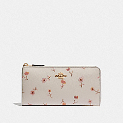COACH F67549 L-zip Wallet With Vintage Prairie Print CHALK MULTI/IMITATION GOLD