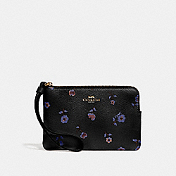 COACH F67550 Corner Zip Wristlet With Vintage Prairie Print BLACK/MULTI/IMITATION GOLD