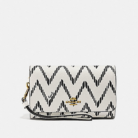 COACH F67551 FLAP PHONE WALLET WITH GEO CHEVRON PRINT BLACK/CHALK/IMITATION-GOLD