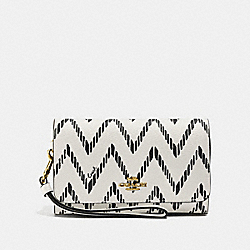 COACH F67551 - FLAP PHONE WALLET WITH GEO CHEVRON PRINT BLACK/CHALK/IMITATION GOLD