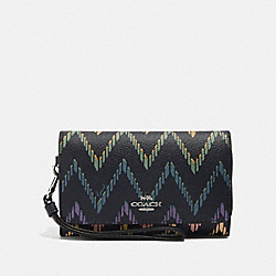 COACH F67551 - FLAP PHONE WALLET WITH GEO CHEVRON PRINT MIDNIGHT MULTI/SILVER