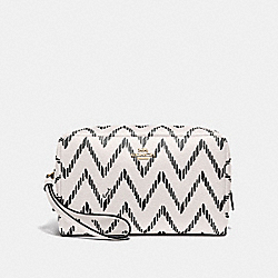 COACH F67554 Boxy Cosmetic Case 20 With Geo Chevron Print BLACK/CHALK/IMITATION GOLD