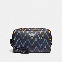 COACH F67554 Boxy Cosmetic Case 20 With Geo Chevron Print MIDNIGHT MULTI/SILVER
