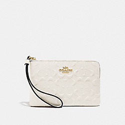 COACH F67555 Corner Zip Wristlet In Signature Leather CHALK/GOLD