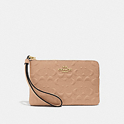 COACH F67555 Corner Zip Wristlet In Signature Leather BEECHWOOD/IMITATION GOLD