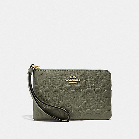 COACH F67555 CORNER ZIP WRISTLET IN SIGNATURE LEATHER MILITARY GREEN/GOLD