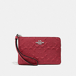 COACH F67555 - CORNER ZIP WRISTLET IN SIGNATURE LEATHER WASHED RED/SILVER