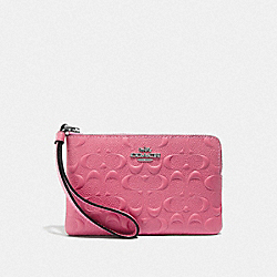 COACH F67555 - CORNER ZIP WRISTLET IN SIGNATURE LEATHER STRAWBERRY/SILVER