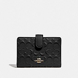 MEDIUM CORNER ZIP WALLET IN SIGNATURE LEATHER - F67565 - BLACK/GOLD