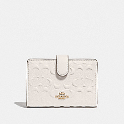 COACH F67565 Medium Corner Zip Wallet In Signature Leather CHALK/GOLD