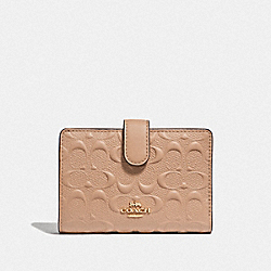 COACH F67565 Medium Corner Zip Wallet In Signature Leather BEECHWOOD/IMITATION GOLD