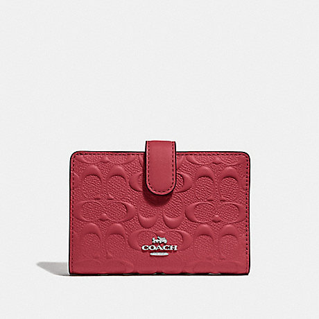 COACH F67565 MEDIUM CORNER ZIP WALLET IN SIGNATURE LEATHER WASHED RED/SILVER